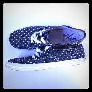 Rare Taylor Swift Keds Sz 8.5 Paws polka dots Navy